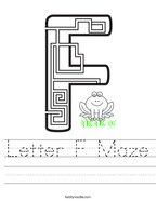 Letter F Maze Handwriting Sheet