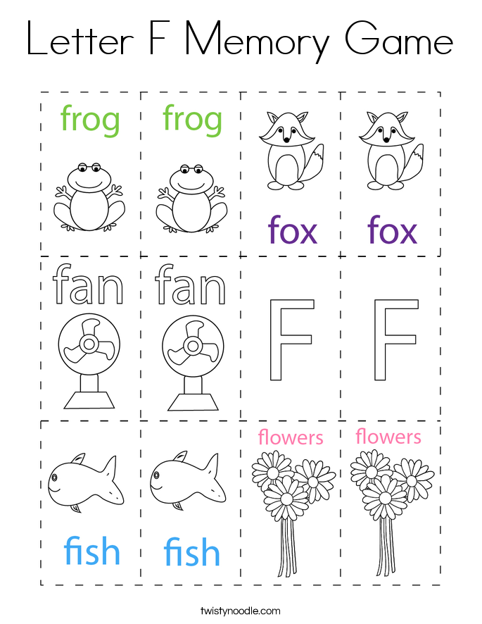 Letter F Memory Game Coloring Page