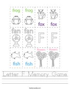 Letter F Memory Game Handwriting Sheet
