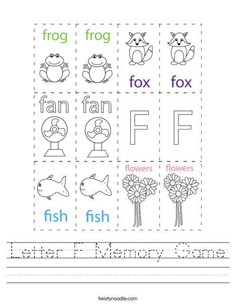 Letter F Memory Game Worksheet
