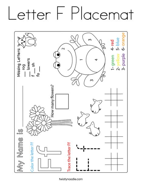 Letter F Placemat Coloring Page