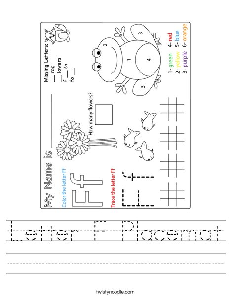Letter F Placemat Worksheet