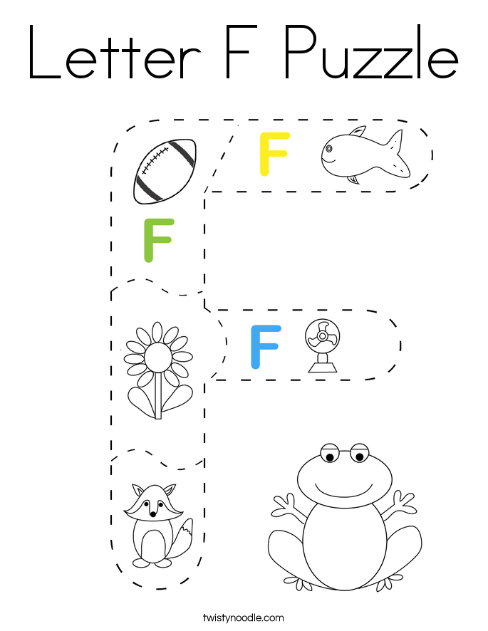 Letter F Puzzle Coloring Page