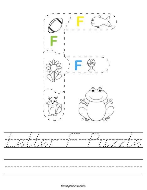 Letter F Puzzle Worksheet