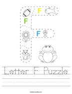 Letter F Puzzle Handwriting Sheet