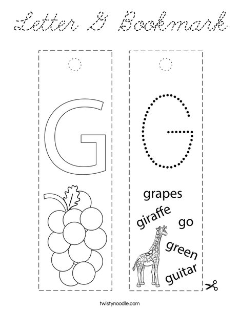 Letter G Bookmark Coloring Page