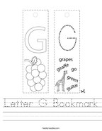 Letter G Bookmark Handwriting Sheet