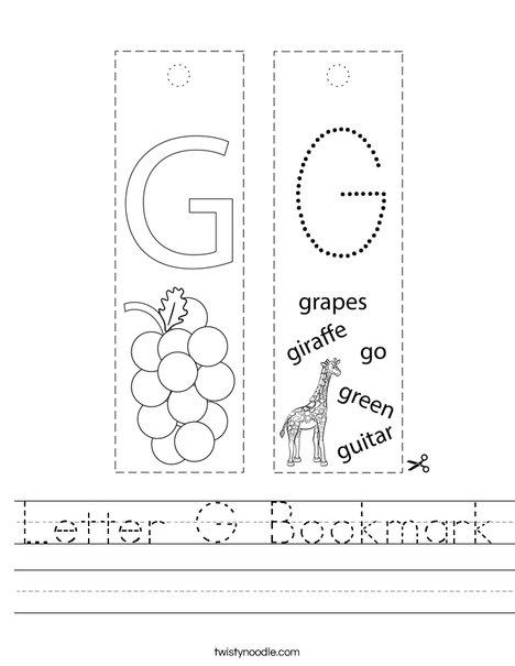Letter G Bookmark Worksheet