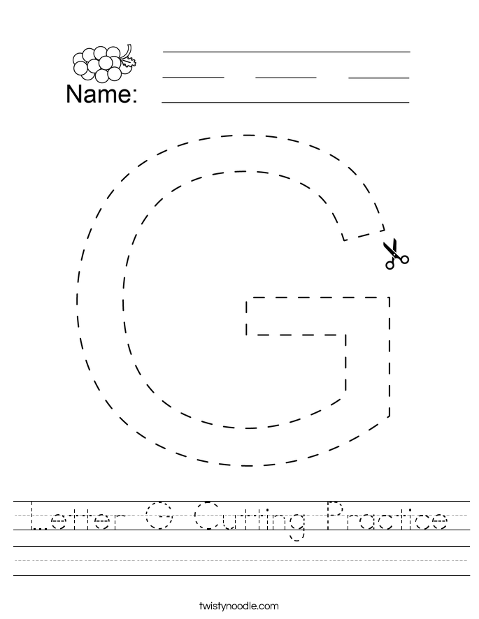 Letter G Cutting Practice Worksheet