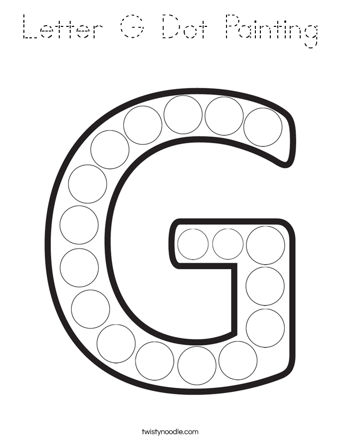 Letter G Dot Painting Coloring Page