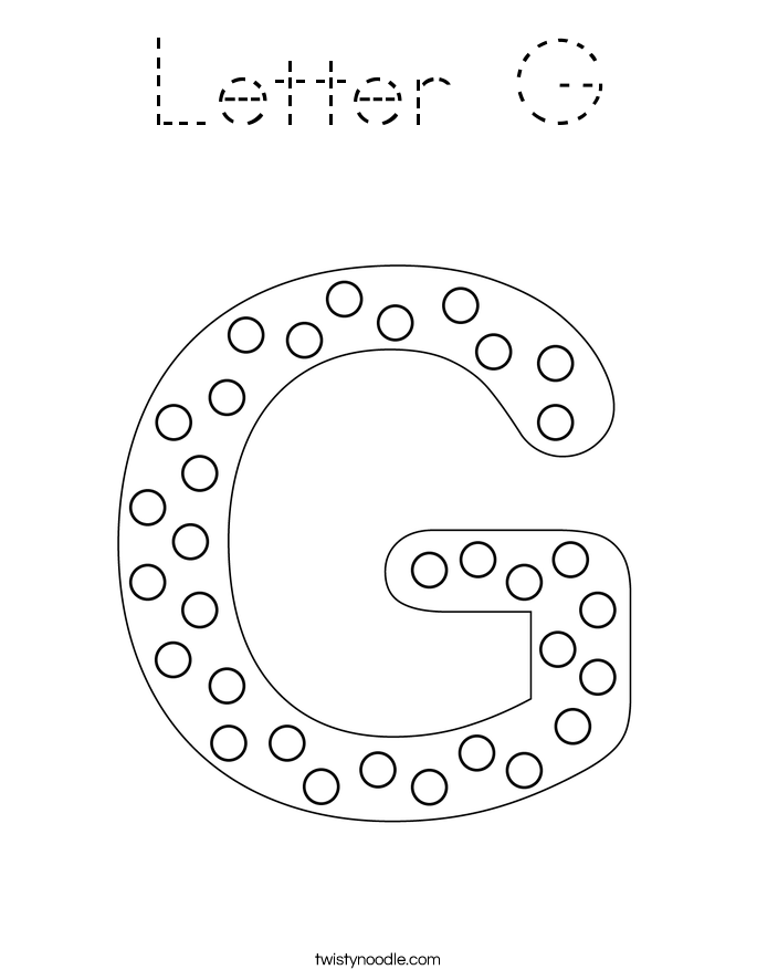Letter G Coloring Page - Tracing - Twisty Noodle