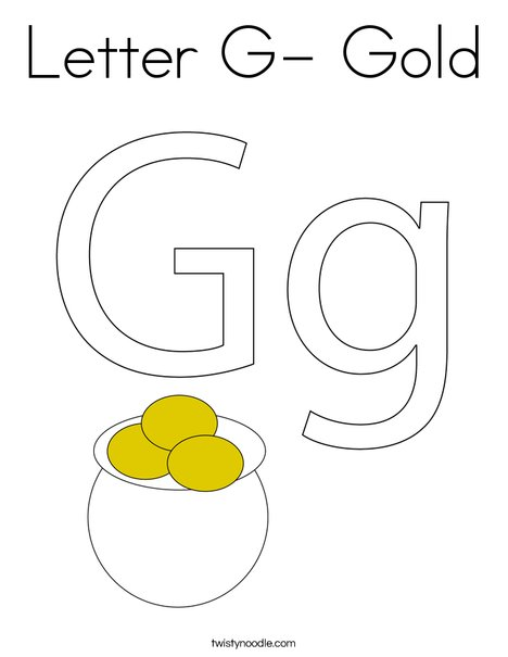 Letter G- Gold Coloring Page