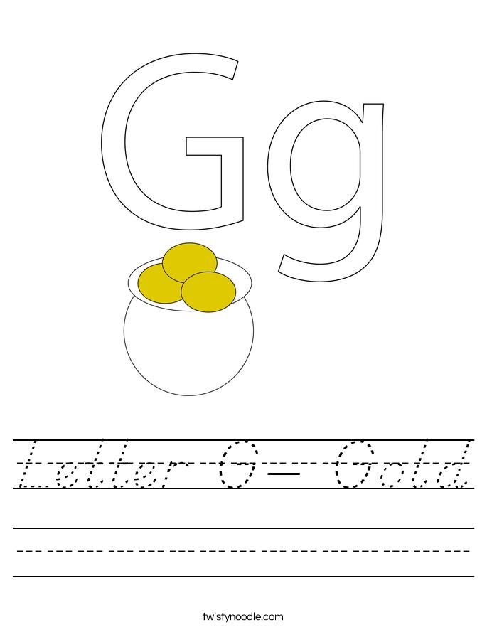 Letter G- Gold Worksheet