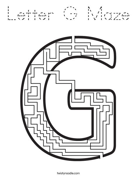 Letter G Maze Coloring Page