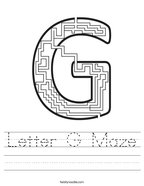 Letter G Maze Handwriting Sheet