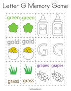 Letter G Memory Game Coloring Page