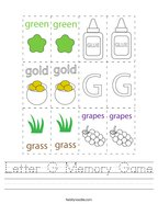 Letter G Memory Game Handwriting Sheet