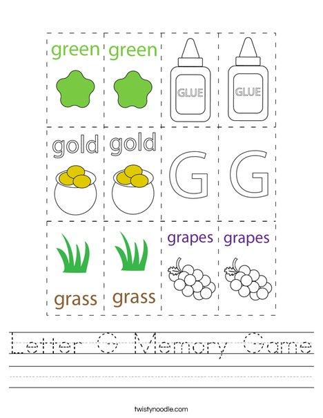 Letter G Memory Game Worksheet