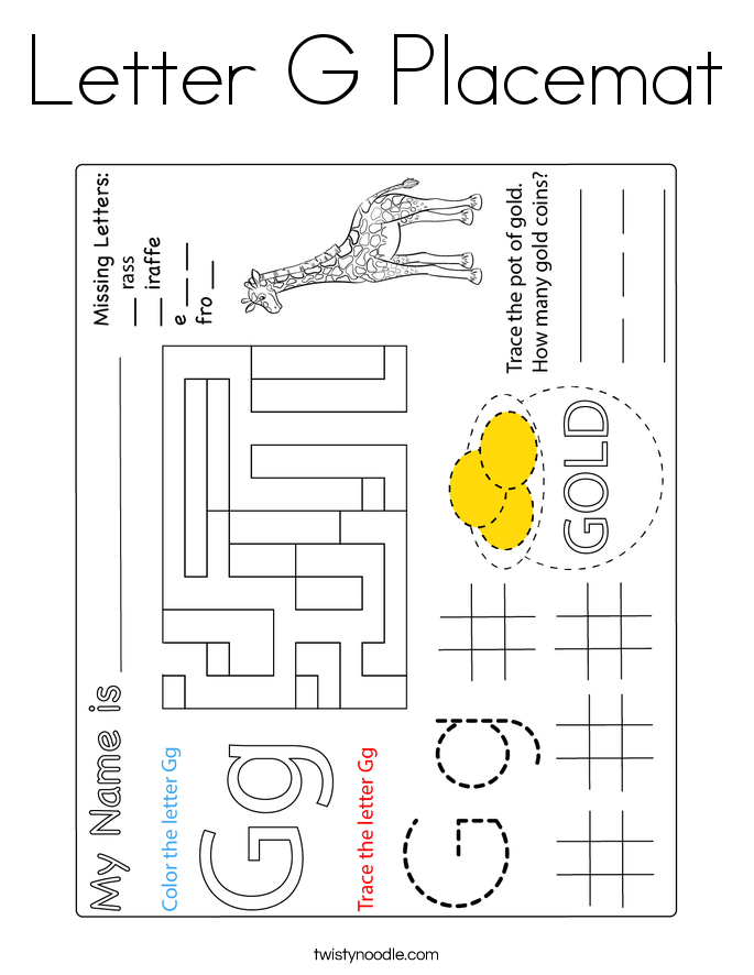 Letter G Placemat Coloring Page