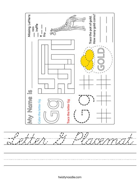 Letter G Placemat Worksheet