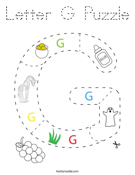 Letter G Puzzle Coloring Page - Tracing - Twisty Noodle