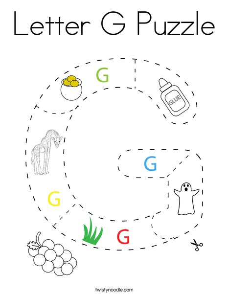 Letter G Puzzle Coloring Page