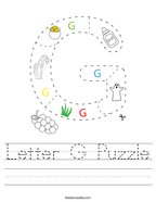 Letter G Puzzle Handwriting Sheet