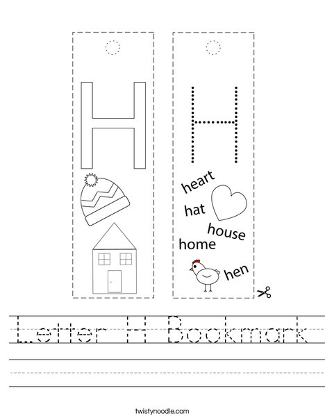 Letter H Bookmark Worksheet