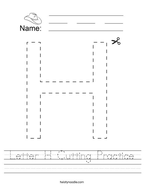 Letter H Cutting Practice Worksheet