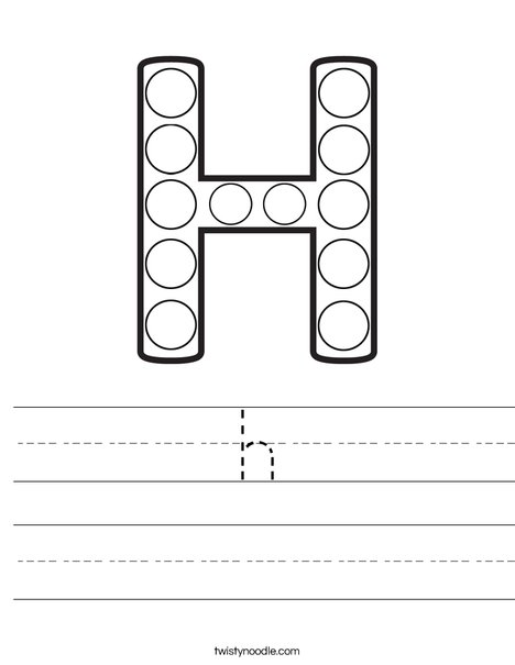 Letter H Dot Painting Worksheet