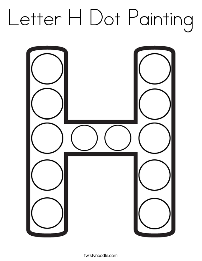 Letter H Dot Painting Coloring Page