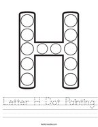Letter H Dot Painting Handwriting Sheet