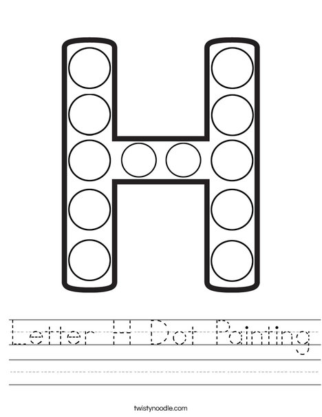 Letter H Dot Painting Worksheet - Twisty Noodle
