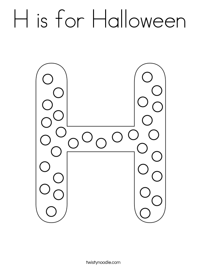 h is for halloween coloring pages - photo #2