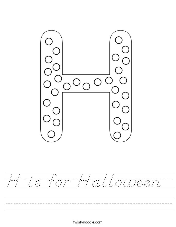 h is for halloween worksheet d 39 nealian twisty noodle. Black Bedroom Furniture Sets. Home Design Ideas