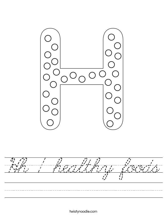 Hh / healthy foods Worksheet