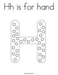 Hh is for hand Coloring Page