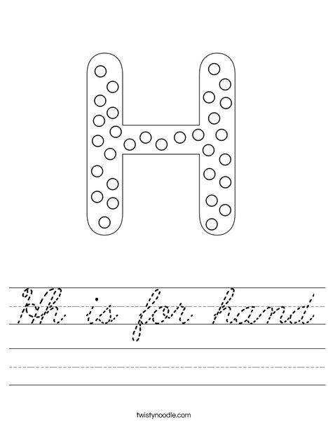 hh is for hand worksheet cursive twisty noodle. Black Bedroom Furniture Sets. Home Design Ideas