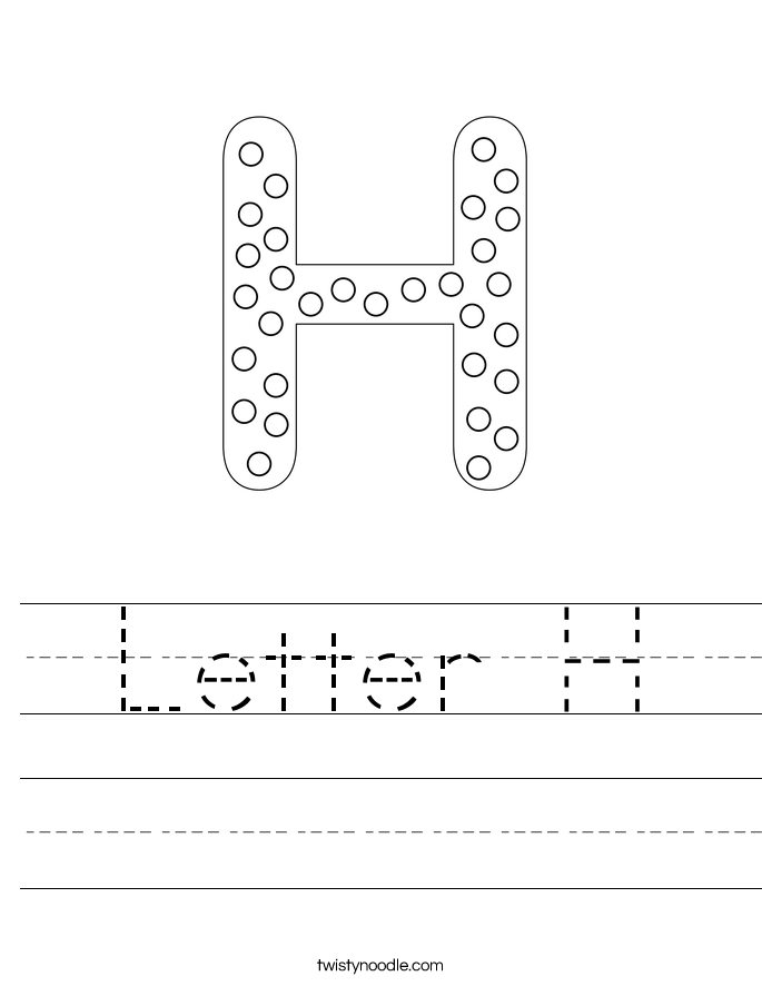 Letter H Worksheet   Twisty Noodle y0Ioxb7K