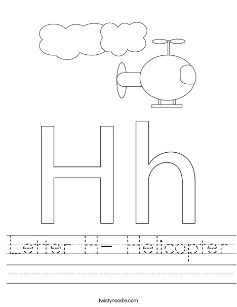 Letter H- Helicopter Worksheet