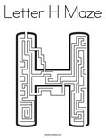 Letter H Maze Coloring Page