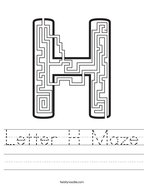 Letter H Maze Handwriting Sheet
