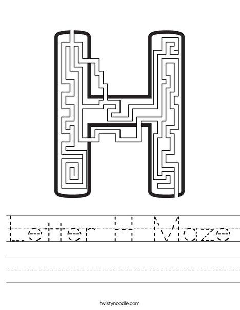 Letter H Maze Worksheet