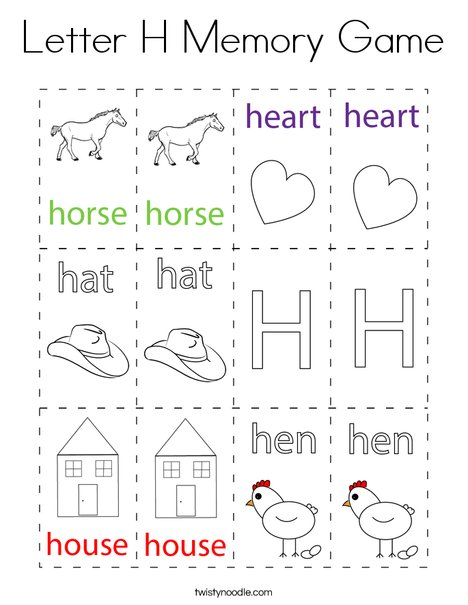Letter H Memory Game Coloring Page
