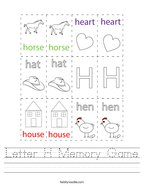 Letter H Memory Game Handwriting Sheet