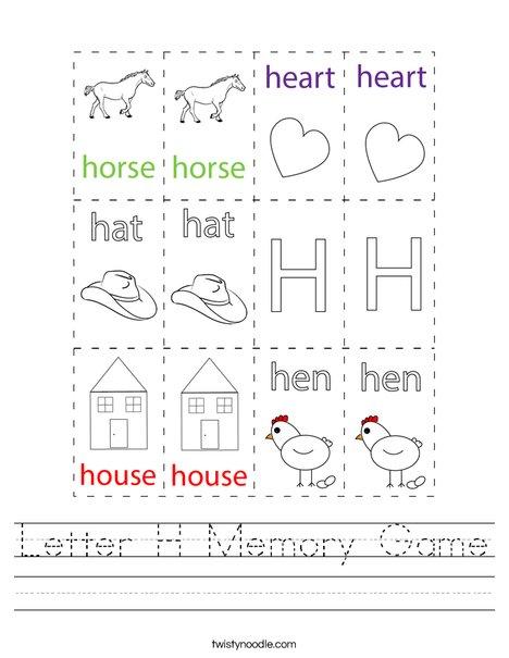 Letter H Memory Game Worksheet