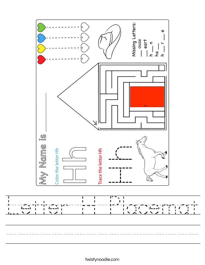 Letter H Placemat Worksheet