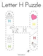 Letter H Puzzle Coloring Page