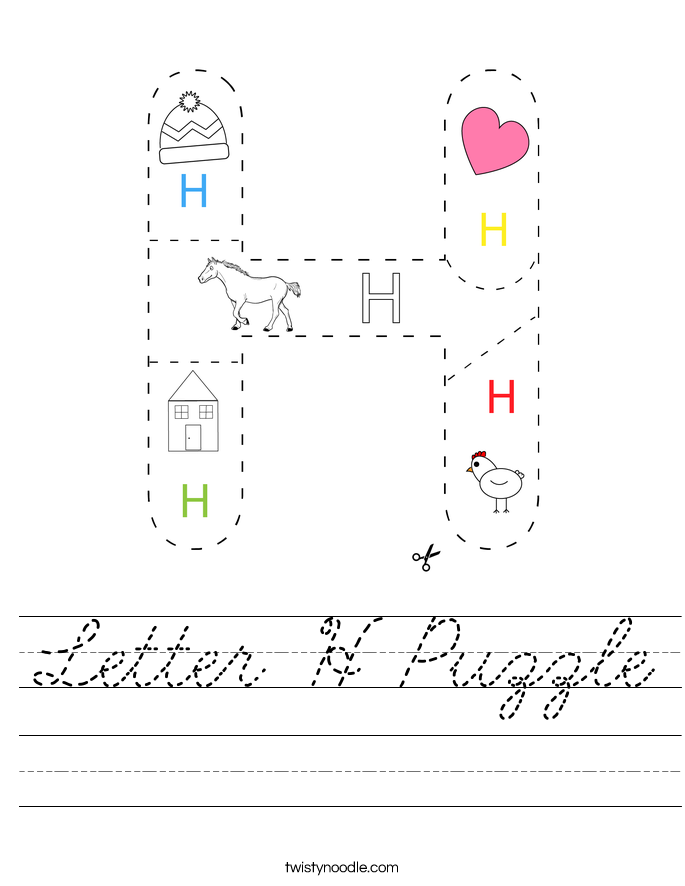 Letter H Puzzle Worksheet - Cursive - Twisty Noodle