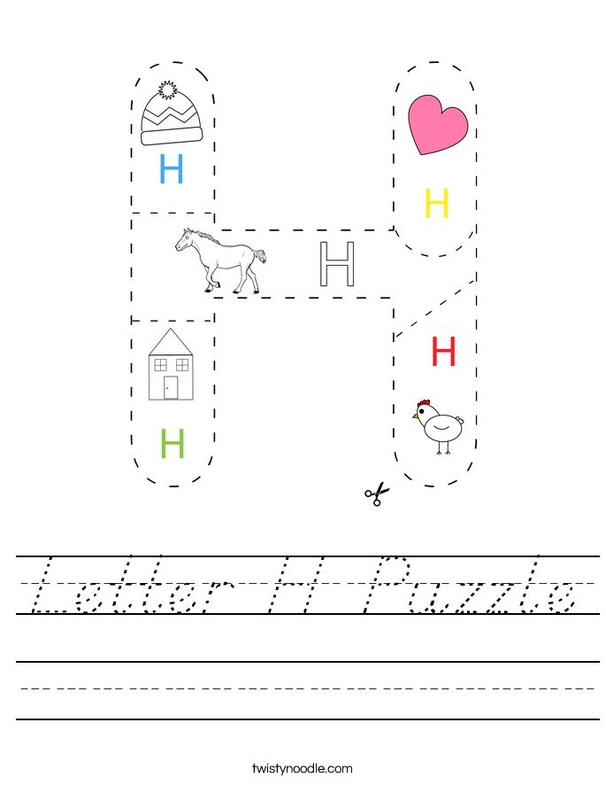Letter H Puzzle Worksheet